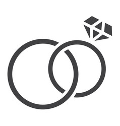 wedding rings glyph icon valentines day 10 vector image