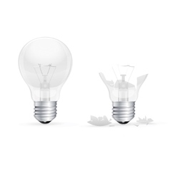 Whole and Broken Light Bulb on a White Background vector image