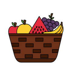 Wicker basket with fresh fruits vector
