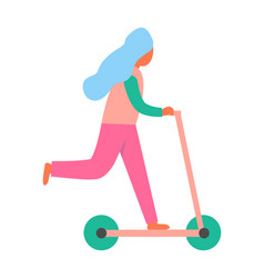 woman riding on scooter vehicle as recreation icon vector image