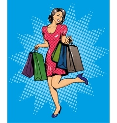 Woman with bags shopping in vector