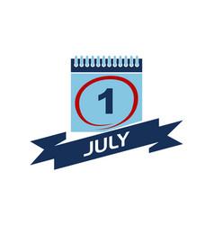 1 july calendar with ribbon vector
