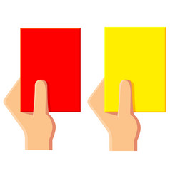 cartoon yellow red soccer referee card icon set vector image