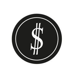 dollar sign black icon on vector image