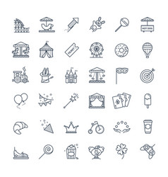 outline set - theme amusement park icons vector image
