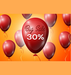 red balloons with an inscription big sale thirty vector image