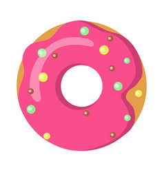 Sweets picture of doughnut with pink sprinkles vector