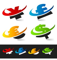 Swoosh Currency Logo Symbols vector image