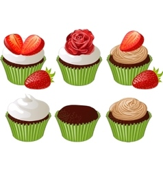 Cupcakes in green cup vector image vector image
