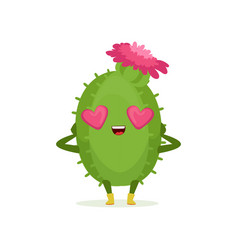 cute cactus in love with heart shape eyes and pink vector image vector image