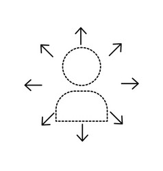 dotted shape teamwork person pictogram to social vector image