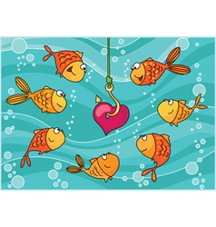 fish and heart vector image vector image