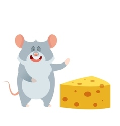 Grey Mouse and a Piece of Cheese vector image