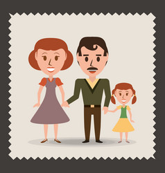 retro family parents with their daughter vector image vector image