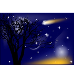 comet and tree vector image vector image