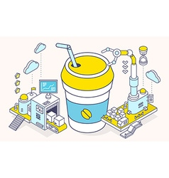 Cup coffee takeaway and three dimensional vector