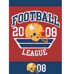 Distressed football league poster with helmet vector image
