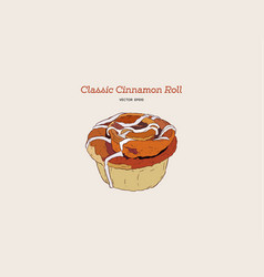 hand drawn sketch style classic cinnamon roll vector image