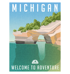 michigan united states travel poster vector image vector image