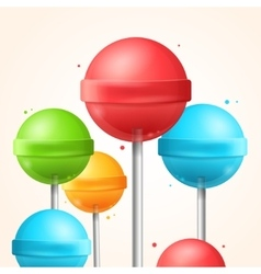 Sweet Candy Colorful Lollipops Background vector image