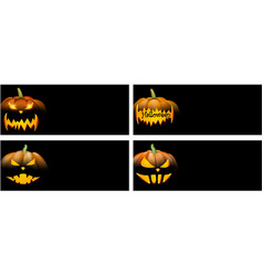 black backgrounds with orange halloween pumpkin vector image