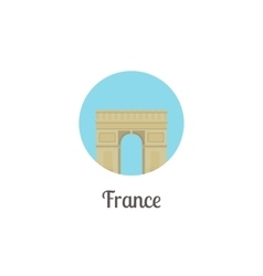 France arch landmark isolated round icon vector image vector image