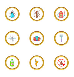 insect destruction icons set cartoon style vector image vector image