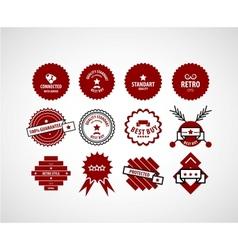Red label set vector image