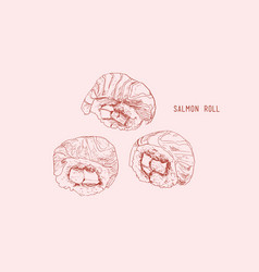 salmon roll sushi hand drawn vintage sushi set vector image