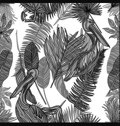 seamless tropical mochrome pattern vector image vector image