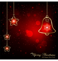 Sparkling Red Gold Christmas Bell vector image