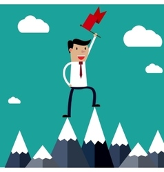 Successful businessman holding flag on top of vector image vector image