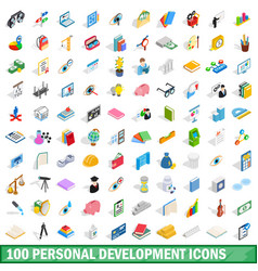 100 personal development icons set vector image