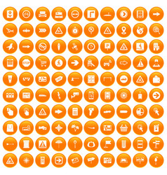 100 pointers icons set orange vector