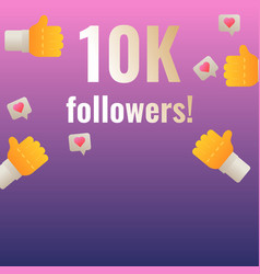 10k followers thank you post banner template for vector image