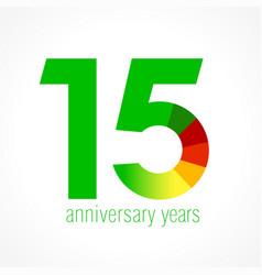 15 anniversary green logo vector