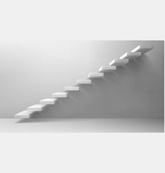 3d stairs white staircase on blank wall background vector