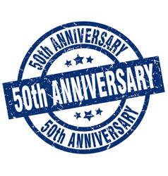 50th anniversary blue round grunge stamp vector image
