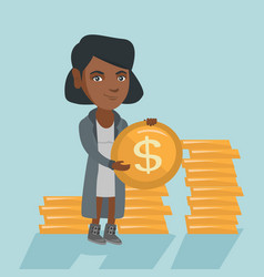 African successful business woman with dollar coin vector