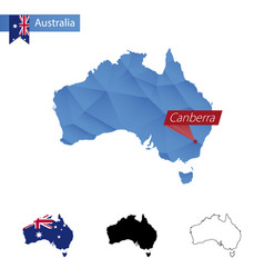 Australia blue low poly map with capital canberra vector