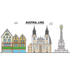 Austria linz city skyline architecture vector