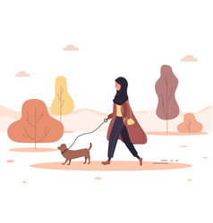 Autumn background young arab woman in hijab walks vector
