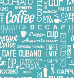 Background seamless tile coffee words and vector