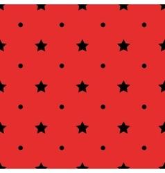 Black polka dot geometric and stars seamless vector image
