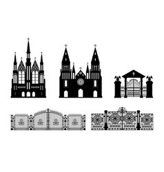 black silhouettes of gothic build vector image