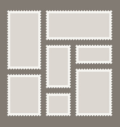 Blank postage stamps collection sticky paper vector
