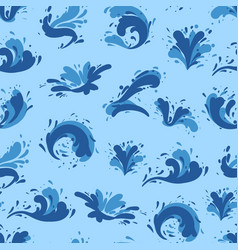Blue ocean background with water splashes vector