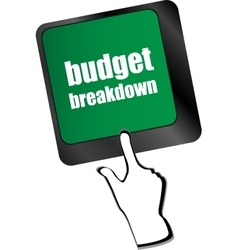 Budget breakdown words on computer pc keyboard vector