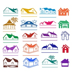 Buildings signs logo set vector