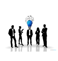 Bulb headed man and business people silhouettes vector image